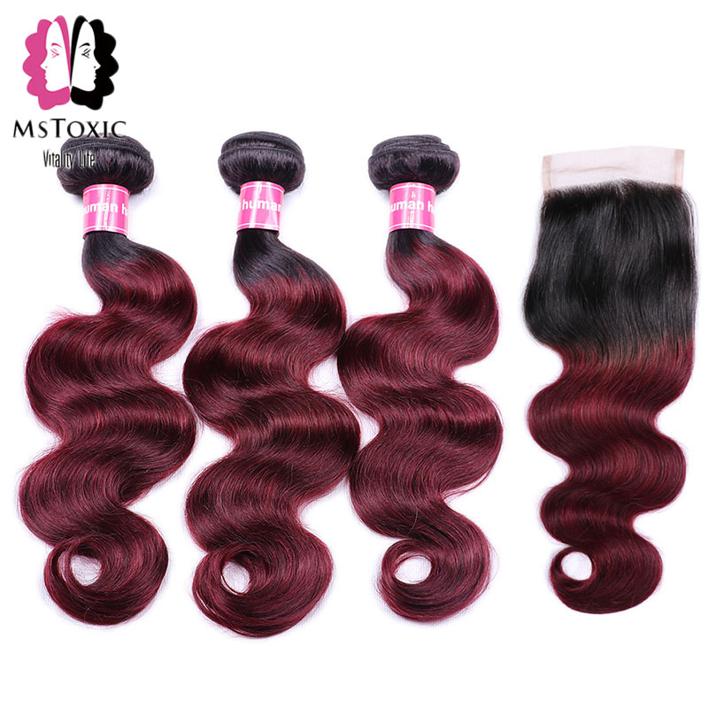 MSTOXIC Ombre Brazilian Body Wave Bundles With Closure 1B/99J Pre-Colored Ombre Bundles With Closure Non Remy Human Hair Bundles