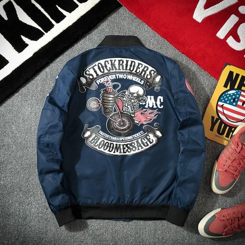 Spring 2020 Fashion MA-1 Bomber Military Motorcycle Jacket Men's Printed Pattern Pilot Bomber Jacket Mens Baseball Jacket Korean