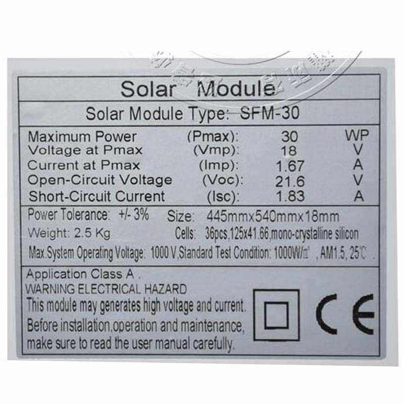 Zonnepaneel 12 Volt 30 Watt Solar Charger Battery Solar Light Lamp LED Car Camp Caravan RV Motorhome Solar Home System