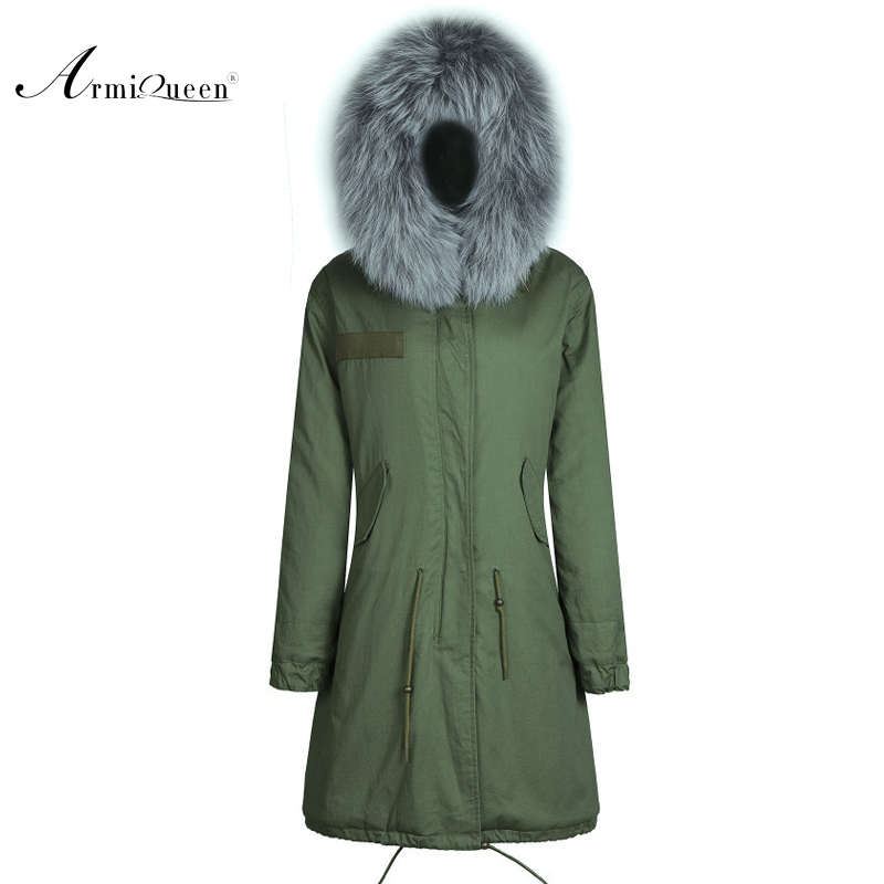 ④2015 Militar estilo de invierno abrigo de pieles con capucha parka ...