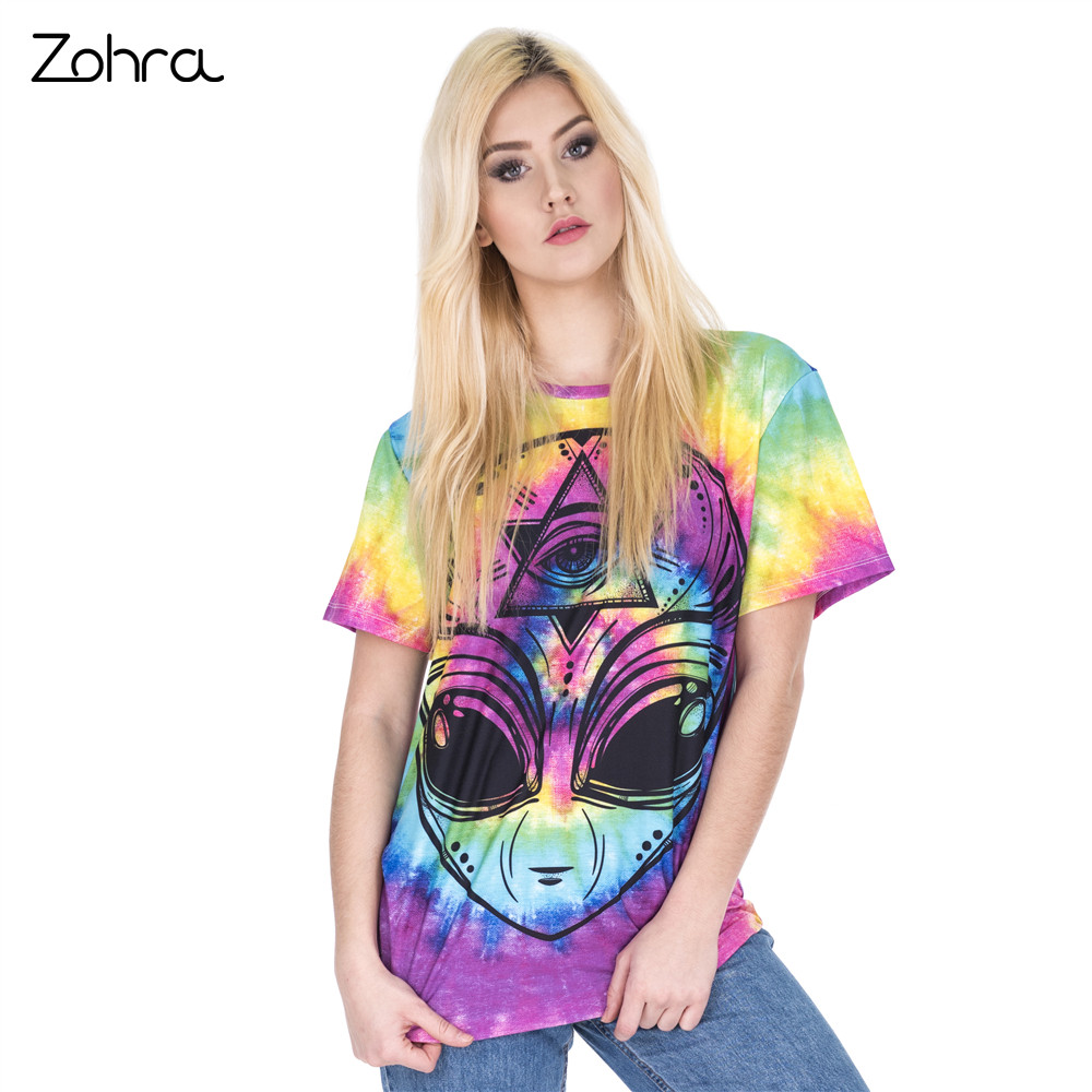 Zohra New Arrival Women Short Sleeve t shirt Colored Alien Printing Tee Shirt Fashion Casual Long T-Shirt