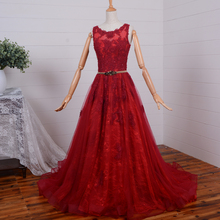 weddings 2015 new hot style red lace evening dress Formal gown a-line robe de soiree sexy appliques beading long prom dresses