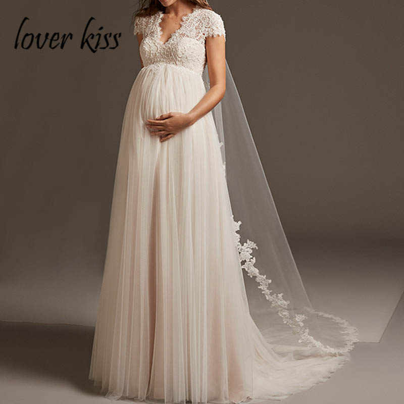 Lover Kiss Vestido De Noiva Bohemian Tulle Lace Pregnant Wedding Dress Cap Sleeve Open Back Maternity Bridal Gown For Weddings