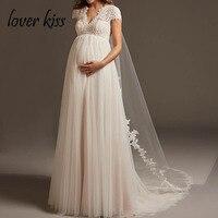 Lover Kiss Vestido De Noiva богемный тюль кружево свадебное платье для беременных кепки рукавом открытой спиной средства ухода за кожей для будущих мам