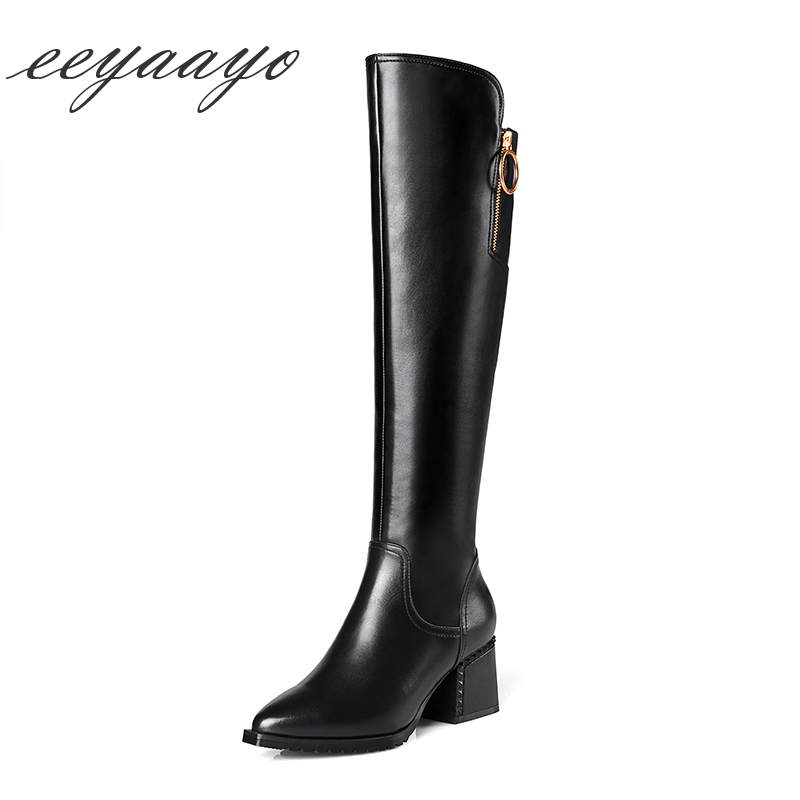 2018 New Winter Genuine Leather Women Knee-High Boots High Heel Pointed Toe Zipper Punk Sexy Women Shoes Black Cow Leather Boots trustfire 13800 lumen 12x cree xm l t6 12t6 led flashlight 18650 hunting camp torch light lamp with 3x 18650 battery charger