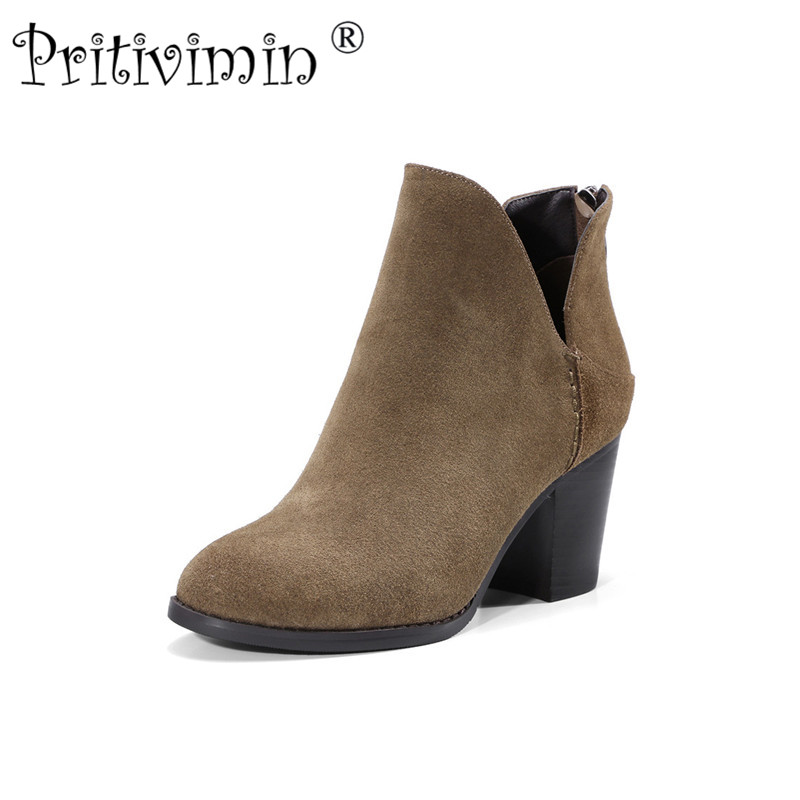 2018 New ladies round toe lined warm winter shoes woman genuine leather thick high heels autumn ankle boots Pritivimin FN1322018 New ladies round toe lined warm winter shoes woman genuine leather thick high heels autumn ankle boots Pritivimin FN132