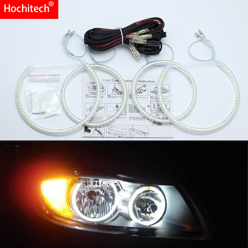 For BMW 3 Series E90 2005-2008 Ultra Bright SMD White LED Angel Eyes 2600LM 12V Halo Ring Kit Daytime Running Light