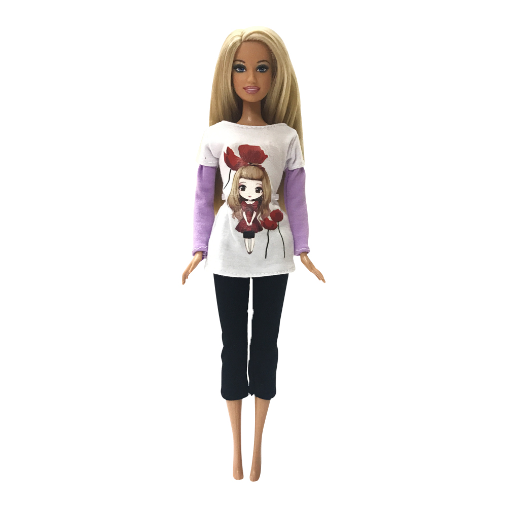 NK 2018  Newest Doll Fashion Clothes Cute Cartoon Picture Design Outfit  For Barbie Doll Best Doll house Accessories Wholesale