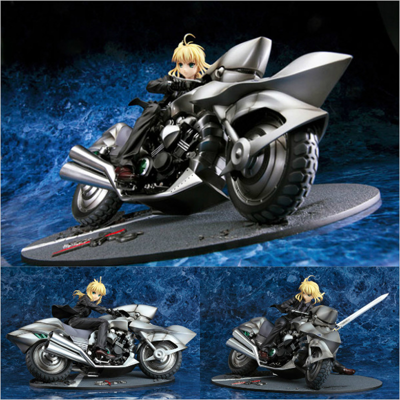 Japanese Anime FATE SABER Sexy Suit Motorcycle black 25cm PVC Action Figures Collectible Model Decoration