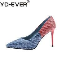 2019 Women 9cm Heel High Classic Stiletto Blue Pumps Escarpins Female Sexy Valentine Scarpins Serpentine Party Wedding Red Shoes