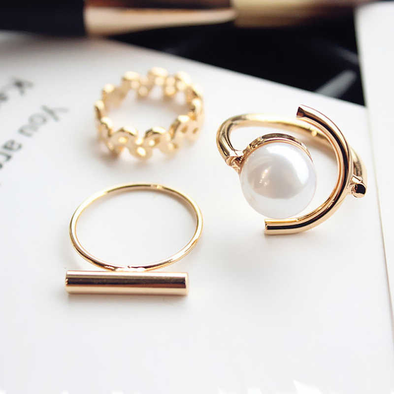 Wedding Rings Anillos Imixlot 3 Pcs/set Personalized Rivets Ring, Artificial Imitation Pearl Index Finger Opening Female Ring
