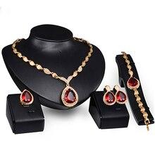 Женский ювелирный набор, формальная вечеринка, капля воды, кубический цирконий, ожерелье, серьги, браслет, кольцо, высокое качество, индийские ювелирные наборы