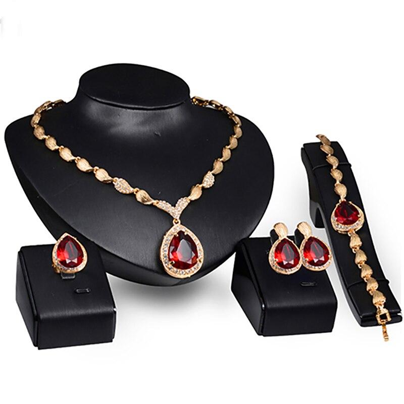 690fd56844d9 Mujeres Formal partido Waterdrop cúbicos Zirconia collar pendientes pulsera  anillo US6-9 6UHN