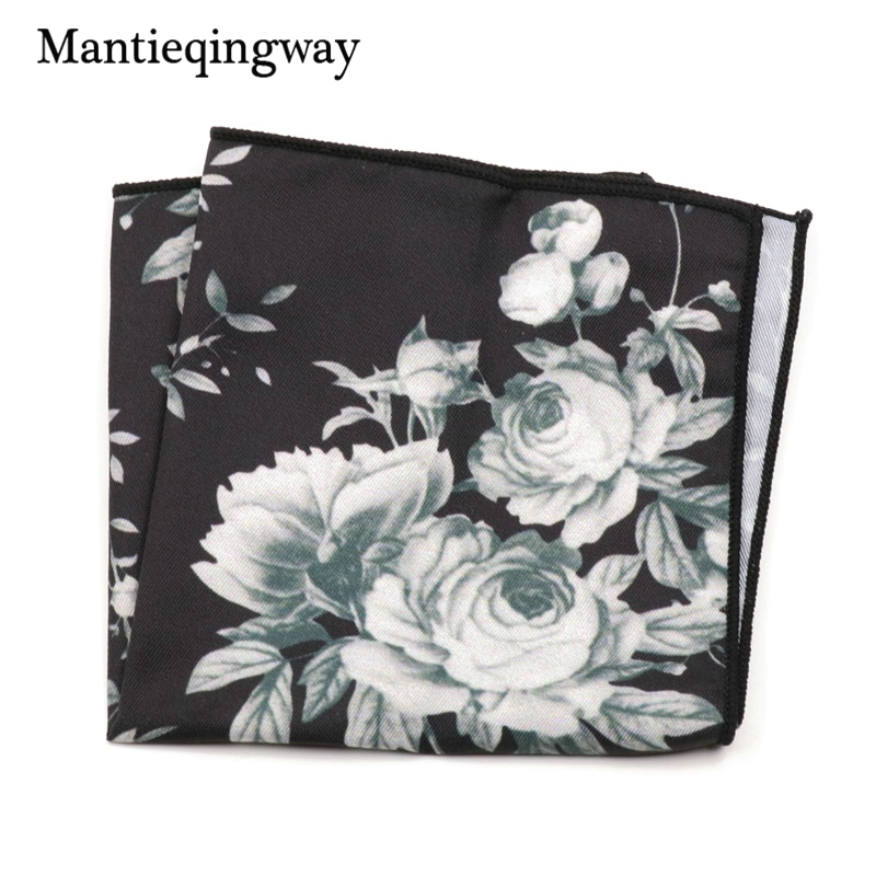 Mantieqingway Men's Suit Pocket Square Hankies Fashion Casual Polyester Floral Print White Hankderchiefs For Wedding Accessories
