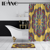 IBANO Hot Sales Mandala Shower Curtain Waterproof Polyester Fabric 180x180cm Bath Curtain 40x60cm Mat For The Bathroom Curtain.