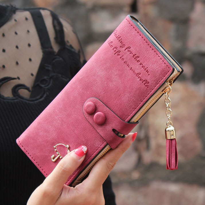 Women Wallets Matte PU Leather Lady Handbags Hasp Tassel Zipper Clutch Coin Purse Cards Holder Moneybags Woman Burse Wallet Bags