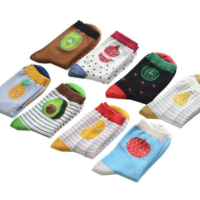 Фирменные модные носки с креативным узором из фруктов, прилив, хлопок, для женщин, милое яблоко, арбуз, ананас, носки в полоску