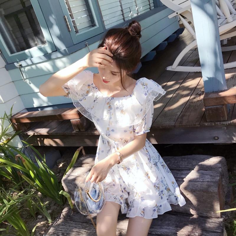 Mishow Summer Of 2018 The New Han Edition Accept Waist Strap A Word Shoulder Chiffon Flower Even Dress Short Pants MX18B2809