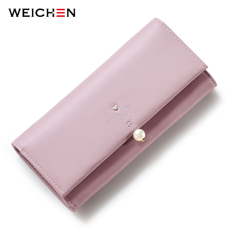 WEICHEN Lovely Pearl Heart Long Wallet For Women, PU Leather Portable Multifunction Card Coin Fashion Lady Purse Solid 6 Color C weichen women elegant long wallet clutch purses female portable multifunction long solid card coin change purse bags lady