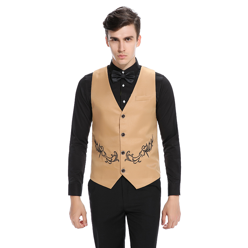 2017 Mens Vest With Embroidery Casual Slim Fit Wedding Mens