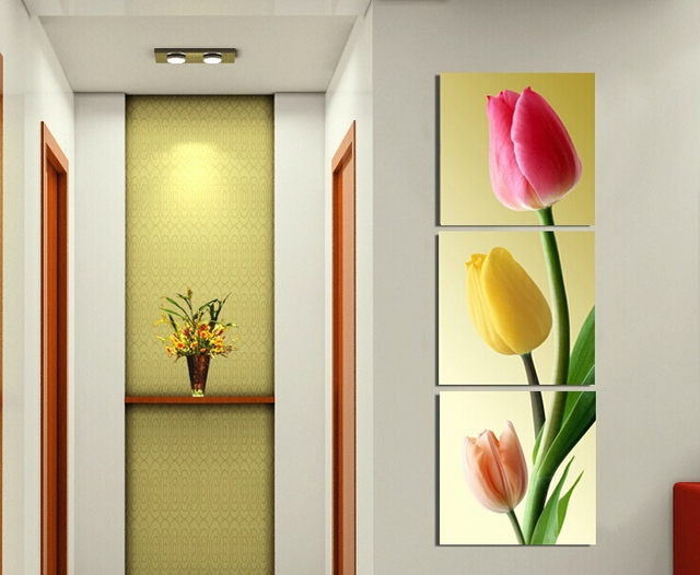 Framed art print Picture wall art home decorative Tulips painting 3 ...