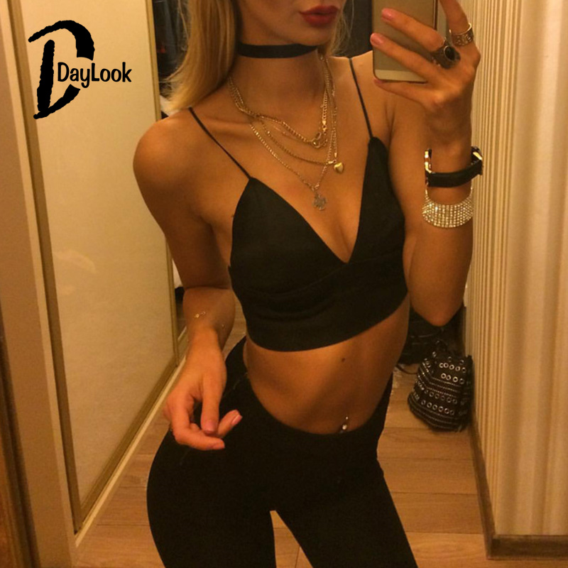 196770b114934 Daylook Summer Style Women Chic Cropped Sexy V Neck Backless Fashion Crop  Top Strappy Bralette Spaghetti Strap Camis Top-in Camis from Women s  Clothing on ...