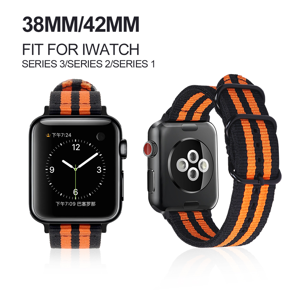 MU SEN New arrive sport woven nylon loop for apple watch band 38mm 42mm wrist braclet adjust nylon for iwatch strap series 1/2/3