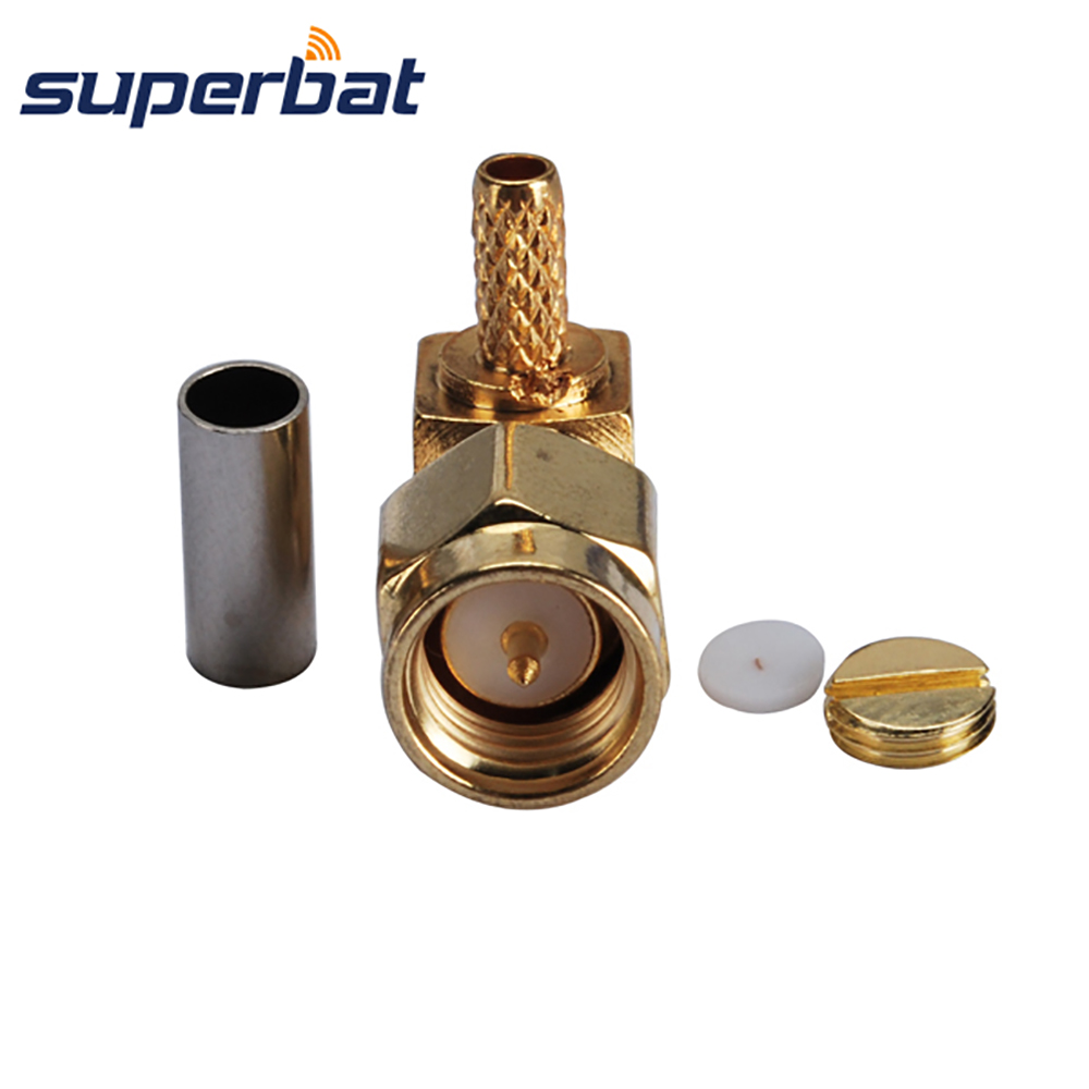 Superbat SMA Crimp Male Plug Right Angle RF Coaxial Connector For Cable RG-174 RG-188A RG316 LMR100 Cable