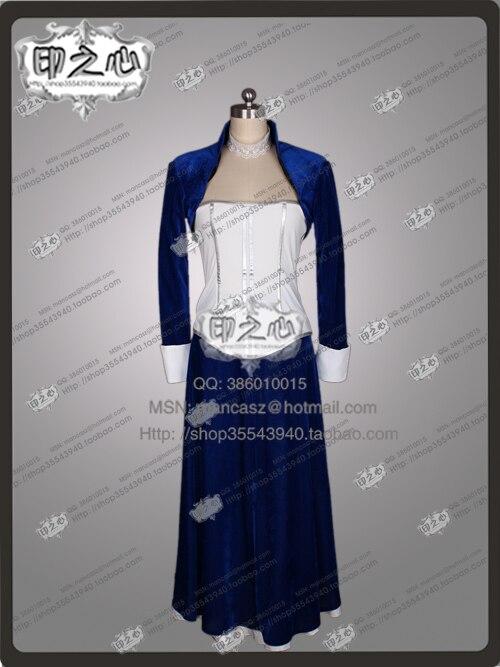 2016 Bioshock Cosplay Infinite Elizabeth Costume Velvet Dark Blue Dress Halloween Party Movie Dress