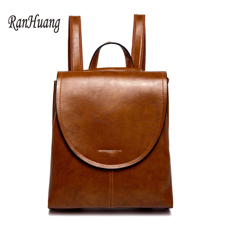 Ranhuang New Women Genuine Leather Backpack High Quality Fashion Backpack Women's Vintage Rucksack Mochila Feminina A1187