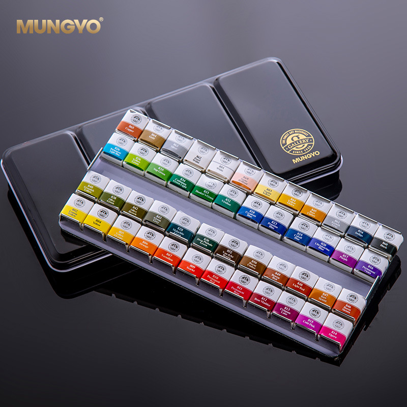 12/24/48 Colors MUNGYO Watercolor Paint Sets Acuarela Solid Water Color Metal Box Oil Painting Pigment for Student Art Supplies