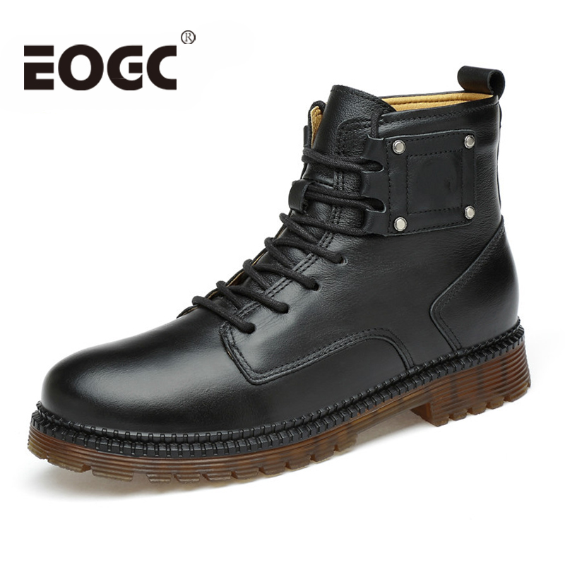 Size 37~45 Full Grain Leather Men Winter Boots Handmade Warm Men Winter Shoes Fashion Ankle Boots for male Botas