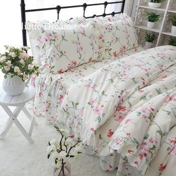 Princess style bedding set garden print ruffle duvet cover set 100% cotton bed sheet set home textile girls bedding king size