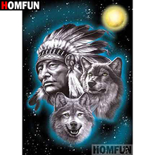 HOMFUN 5D DIY Diamond Painting Full Square/Round Drill Indian wolf Embroidery Cross Stitch gift Home Decor Gift A09324 homfun 5d diy diamond painting full square round drill indian wolf embroidery cross stitch gift home decor gift a09279