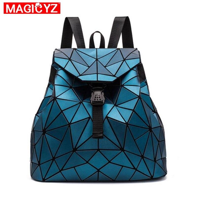 2019 novo saco de Escola mochila feminina mochila de estudante menino menina holográfico laser geometria bolsa de viagem Designer De Bagpack mochila da mulher