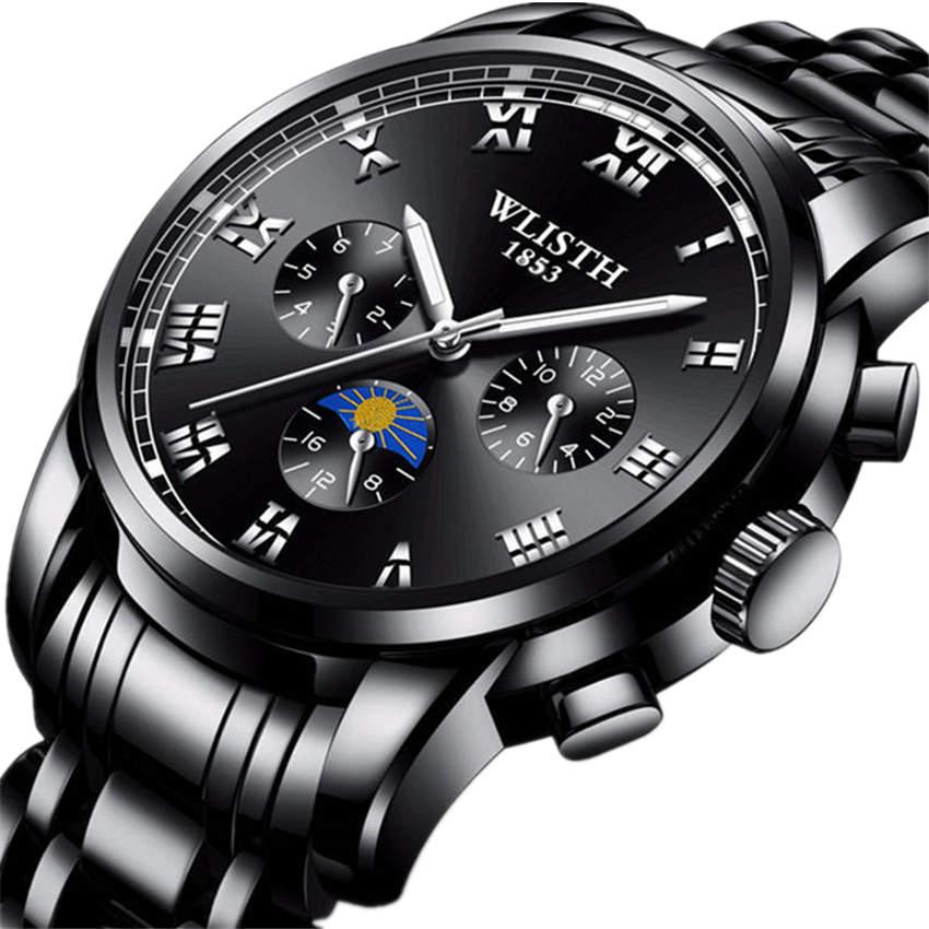 WLISTH Men Watch Fashion Quartz Clock Watchband Stainless Steel Wrist watches  Waterproof Black Wristwatch 2018 Man 3f75c9e69deb