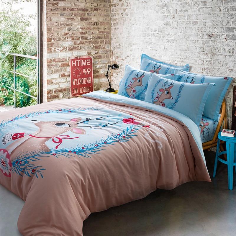 elegant deers bedding set 4pcs high quality cotton fabric queen size duvet coverflat sheet