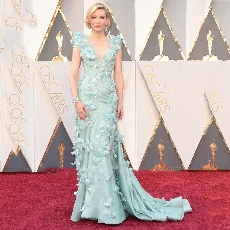 robe de soiree 2017 New Oscar Academy Awards V-Neck Cap Sleeve Flowers Beaded Mermaid Red Carpet Mint Celebrity Evening Dresses