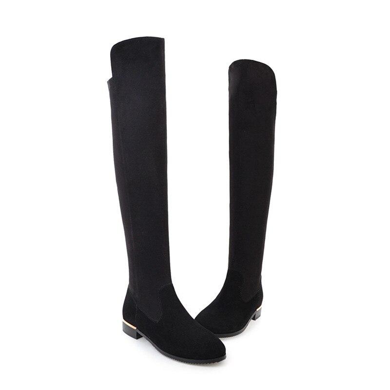Pie Mujer La 43 Botas Zapatos Invierno Bajo Tamaño Redondo Gran Las Tacón Dedo Mujeres Asumer 2019 Rebaño 34 Moda E Otoño De Rodilla Negro Del Nuevo fB6nqa