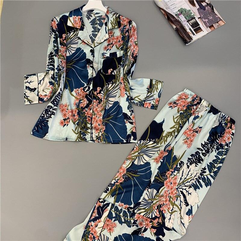 2019 Spring Autumn Women   Pajamas     Sets   With Pants Silk Homewear Satin Flower Print Pijama Long Sleeve Pyjamas Thin Sleepwear