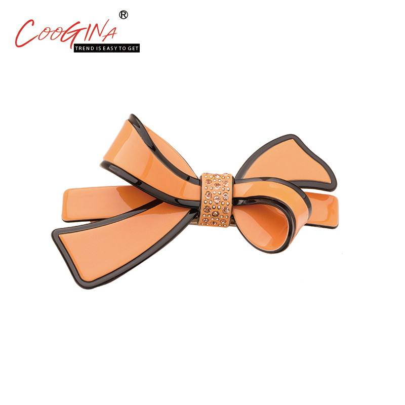 Coogina 2018 High Quality Classic Bow Hair Accessories Barrettes Simple Multicolor Women Rhinestone Hair Clips Ladies Top Clips high quality big rose flowers ribbon banana hair clips for women fashion hair flower barrette girls hair accessories 2 colors