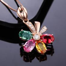 Everoyal Top Quality Silver 925 Women Pendant Necklace Jewelry Female Charm Crystal Color Flower For Girls Accessories