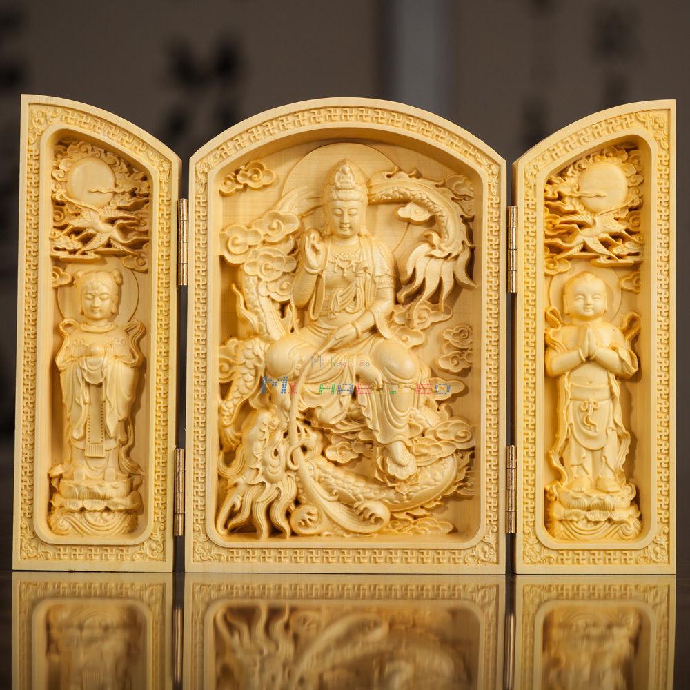 Oriental Ternary Doors Design Boxwood Handwork Carved Sutra Kwan-yin Statue metal handicraftOriental Ternary Doors Design Boxwood Handwork Carved Sutra Kwan-yin Statue metal handicraft