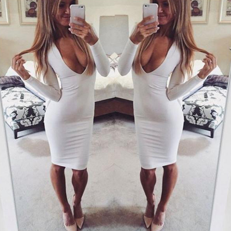 bbe4e1b78c8cd women winter sexy bodycon dresses deep v neck black white long sleeve  bandage evening party casual dress vestidos de fiesta on Aliexpress.com |  Alibaba ...