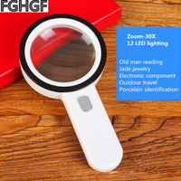 FGHGF Portable 30 Times Magnifying Glass With Light Reading Identification Outdoor Adventure Handheld Magnifier Observe the Skin