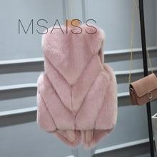 Winter luxury ladies short fur vest short Faux Fox Fur Coats Furry Womens Fake Fur Jacket