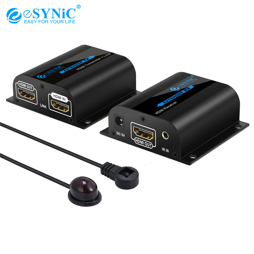 Esynic HDMI Extender séparateur boucle avec IR télécommande 1080 P HDMI Extender émetteur pour TV projecteur DVD sur RJ45 CAT6 CAT7 câble
