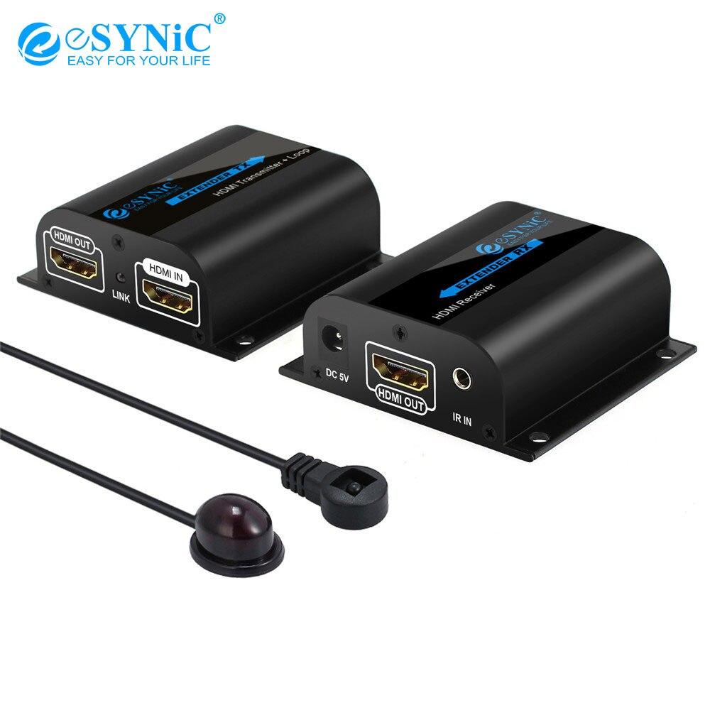 Esynic extension hdmi Splitter Boucle Avec IR À Distance 1080 P extension hdmi émetteur pour la télévision Projecteur DVD Sur RJ45 CAT6 CAT7 Câble
