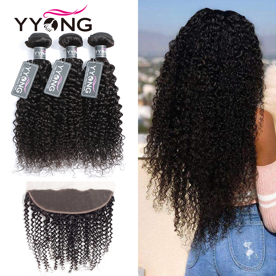 Yyong Kinky Curly Bundles With Lace Frontal Human Hair Bundles With Closure Non Remy Brazilian Hair