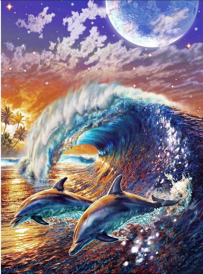 5D DIY Diamond Painting Dolphin Wave Embroidery Full circular Diamond Cross Stitch Rhinestone Mosaic Painting Home Decor Gift